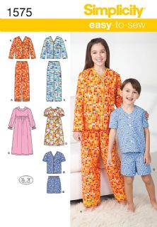 1575 Simplicity Pattern: Child's, Girls' and Boys' Loungewear